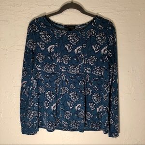 Teal floral long sleeve shirt